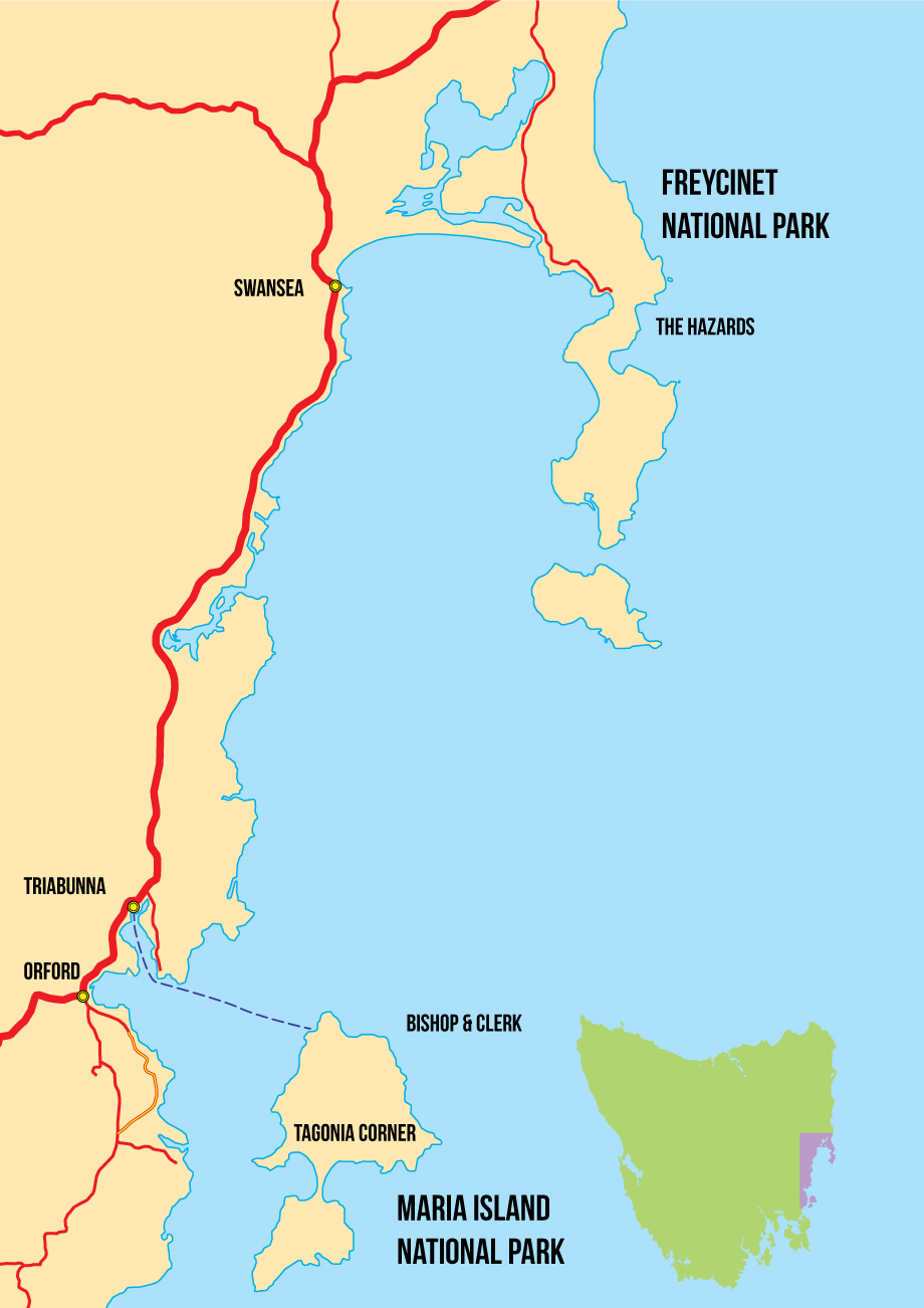 Maria Island and Triabunna Map